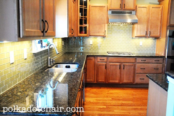 green subway tile kitchen backsplash simple kitchen updates on the polka dot chair blog 4426
