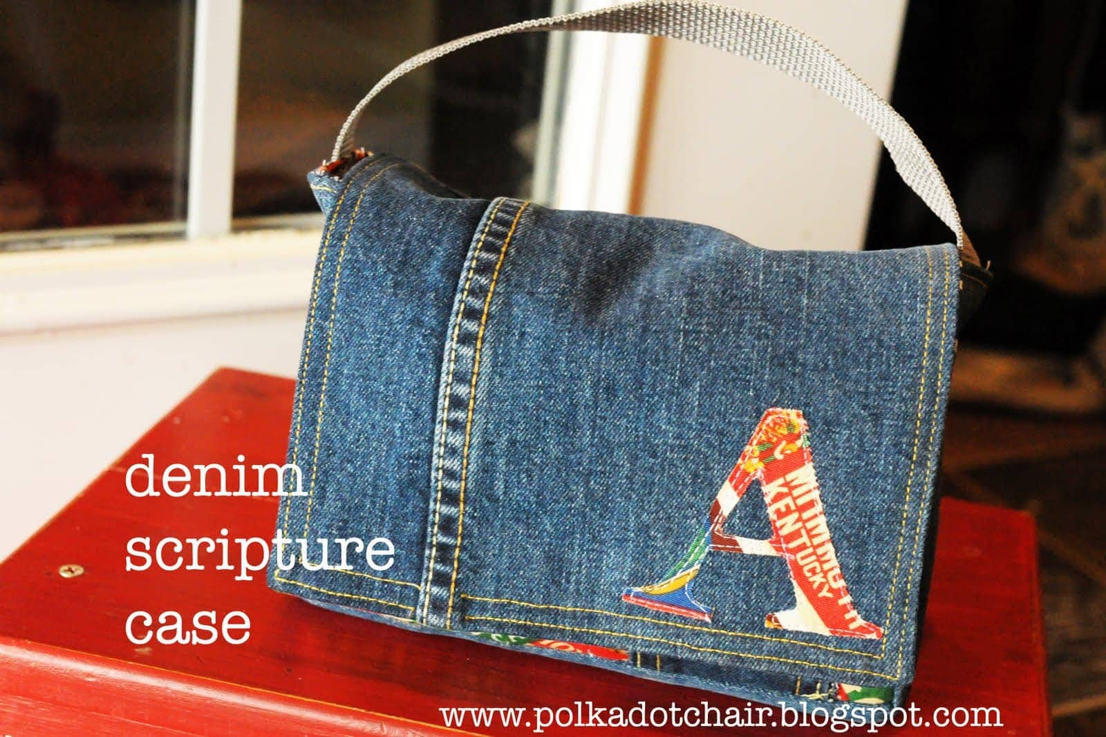 Tutorial  Scripture Case from a pair of Jeans - The Polka Dot Chair bdf631440eddb