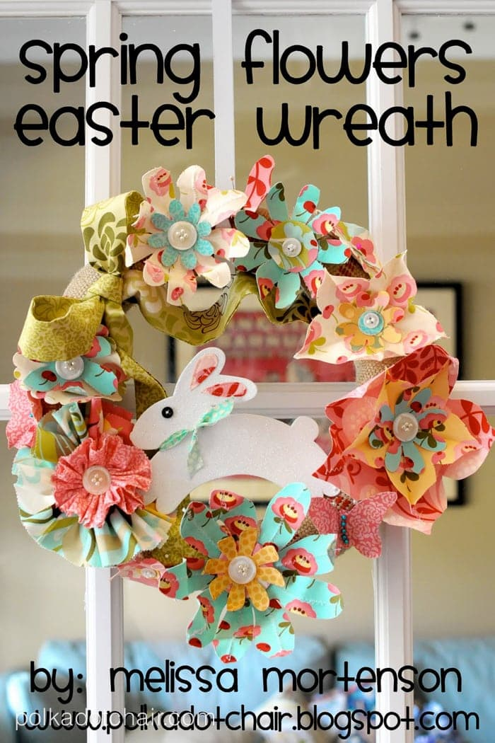 40 easter sewing projects ideas the polka dot chair cute diy wreath for easter made with fabric flowers negle Gallery