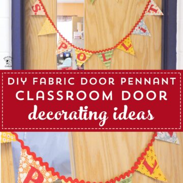 fabric pennant on classroom door