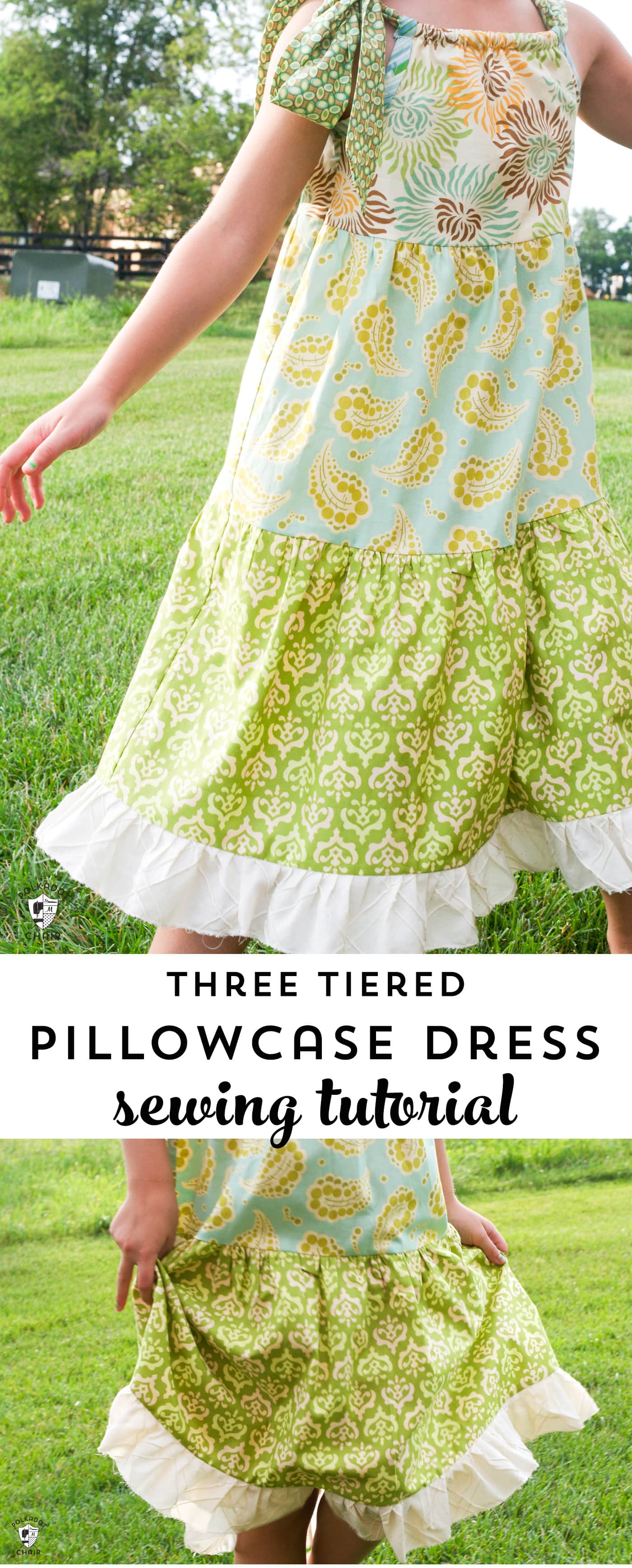 Learn how to sew a simple pillowcase dress with this free tiered pillowcase dress sewing pattern. #sewingforgirls #dresspatterns #freepatterns #freesewingpatterns