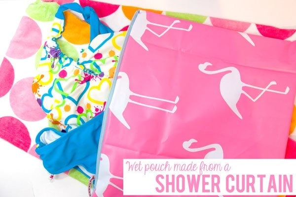 Zippy wet pouch made from a shower curtain the polka dot Swimming pool shower curtain