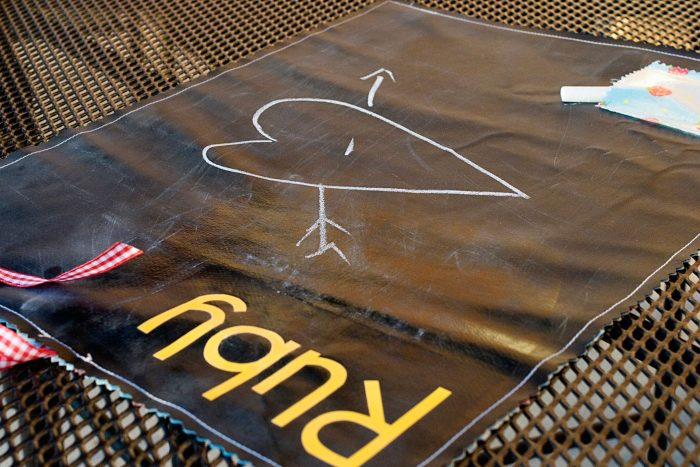 A free sewing pattern for a chalkboard placemat, would make a really cute gift.