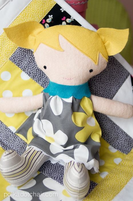 Cute Fabric Doll and Baby Quilt