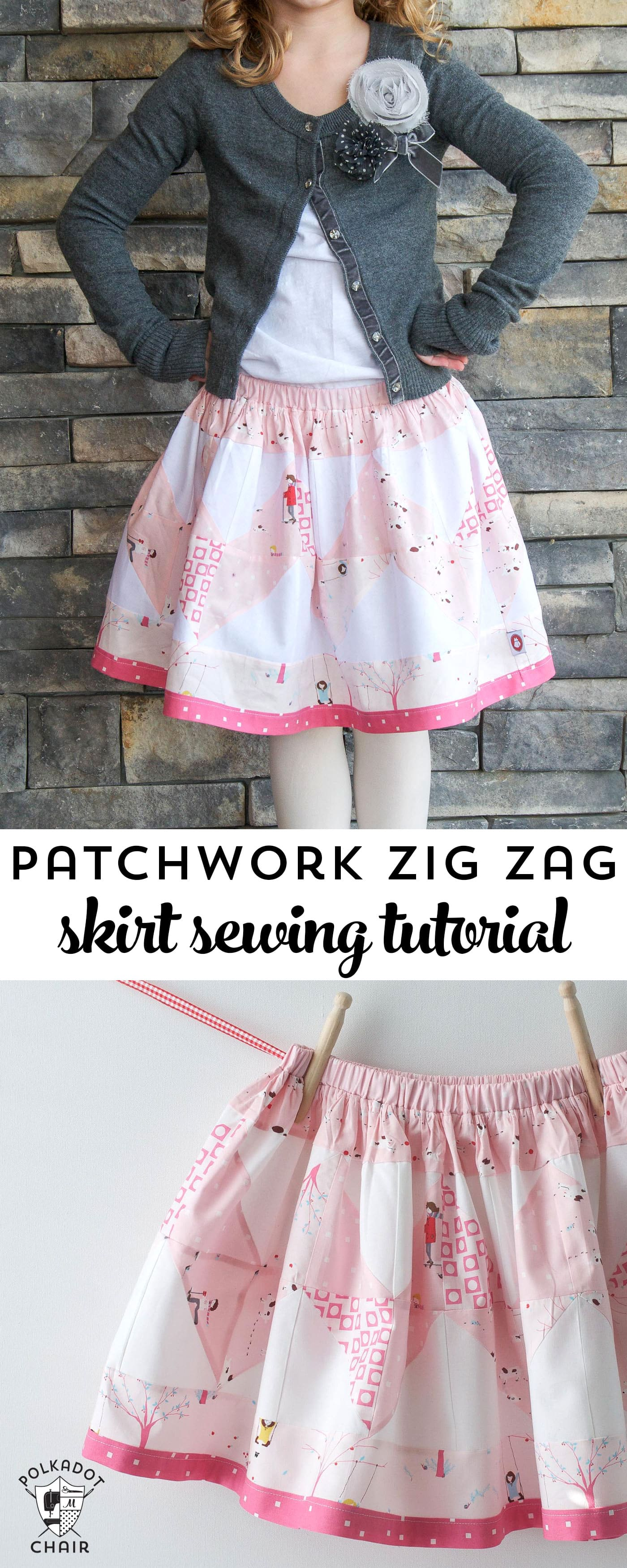 Free Sewing Tutorial to make a little girls patchwork zig zag skirt- uses charm packs- super quick and cute!