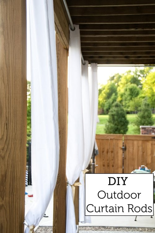 DIY Outdoor Curtain Rods - so inexpensive, uses chain link fencing material !