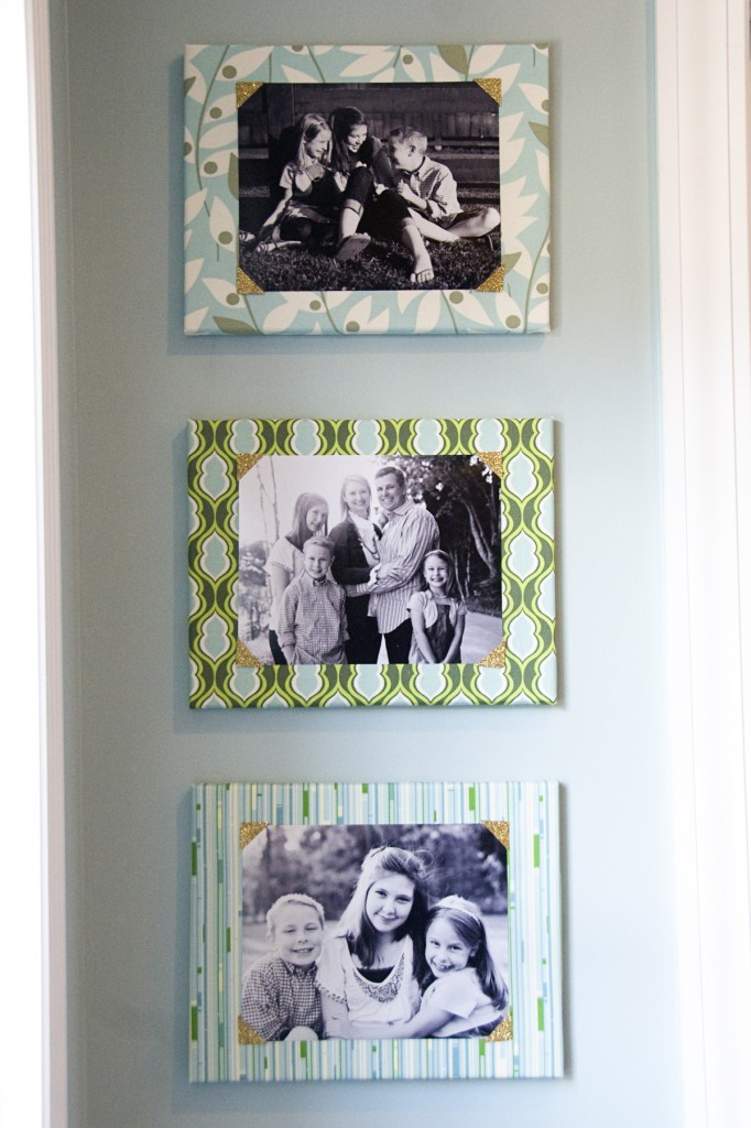 Fabric Covered Canvas Photo Framing Idea
