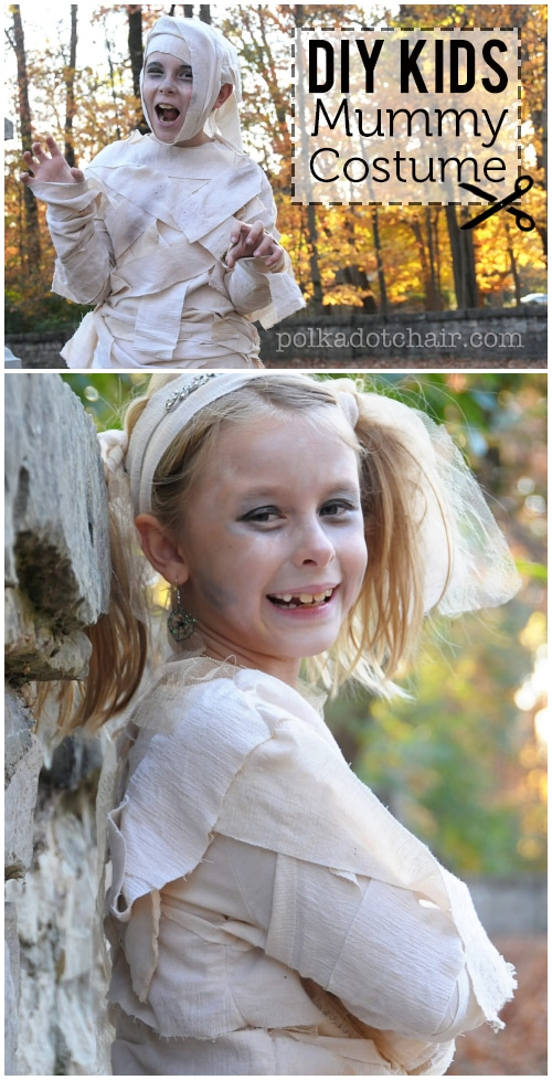 Learn how to make a Kids Mummy Costume for Halloween - A free tutorial on polkadotchair.com - very little sewing involved!