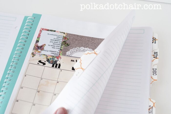 calendar pages in spiral notebook