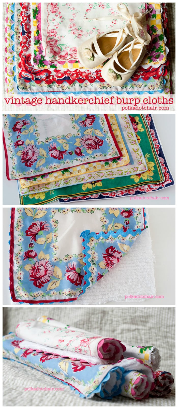 Burp Cloths made from Vintage Handkerchiefs