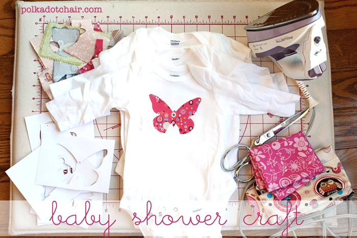 Baby shower crafts decorate onesie 39 s the polkadot chair for Baby shower decoration cutouts