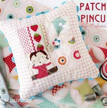 Free sewing pattern for a cute mini patchwork pincushion