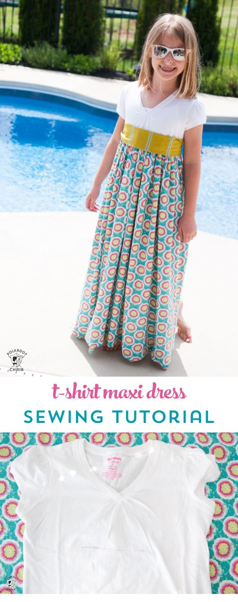 Upcycle a T-shirt into a girls maxi dress with this sewing tutorial. A free pattern for a t-shirt maxi dress on polkadotchair.com