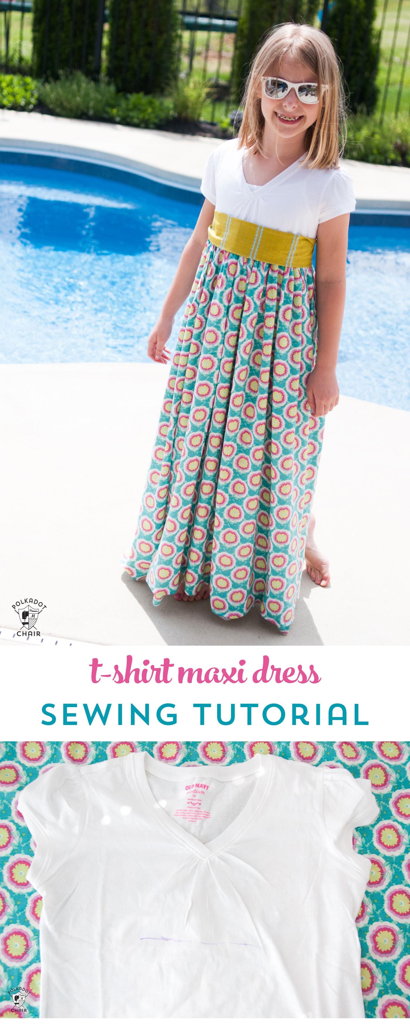 Girls T-Shirt Maxi Dress Pattern & Tutorial