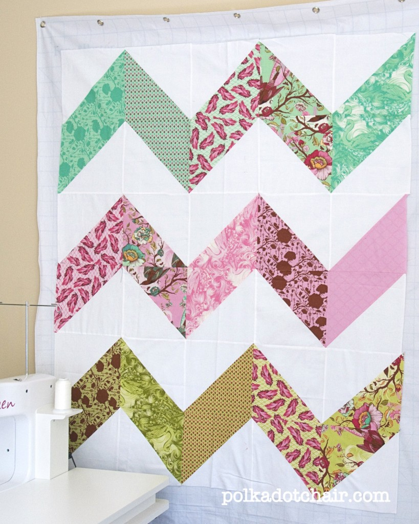 A finished Zig Zag quilt top - The Polkadot Chair