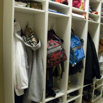 IKEA Mudroom Hack turn IKEA Bookcases to Mudroom Lockers