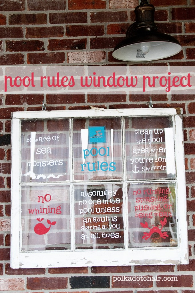 Pool Rules Sign,  make from a old window
