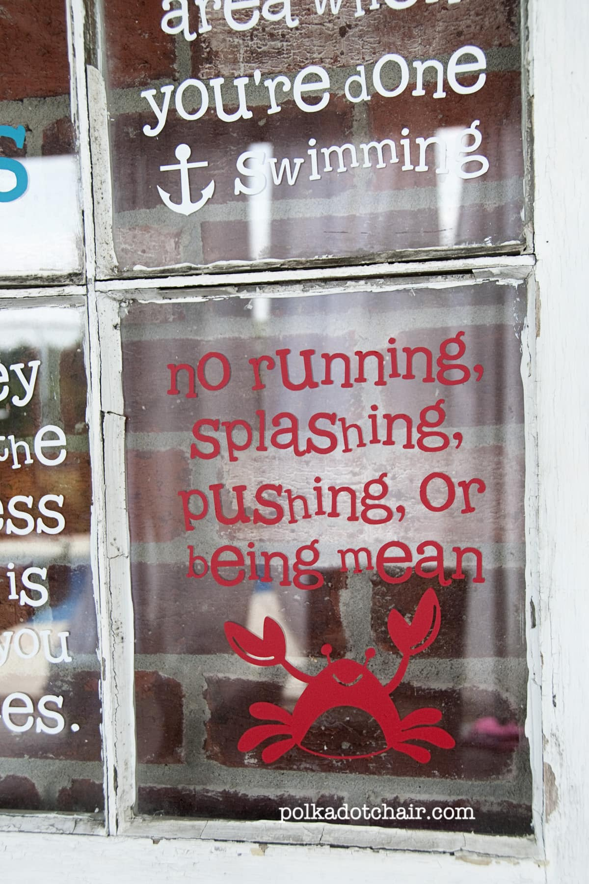 Pool Rules Sign Window Project The Polkadot Chair