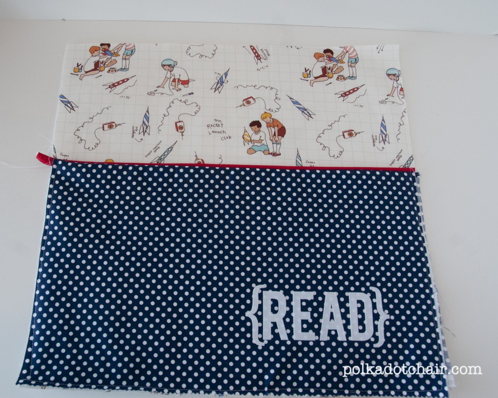 readingpillow5 1024x819 National Sewing Month 2012: Reading Pillow With Pocket Tutorial