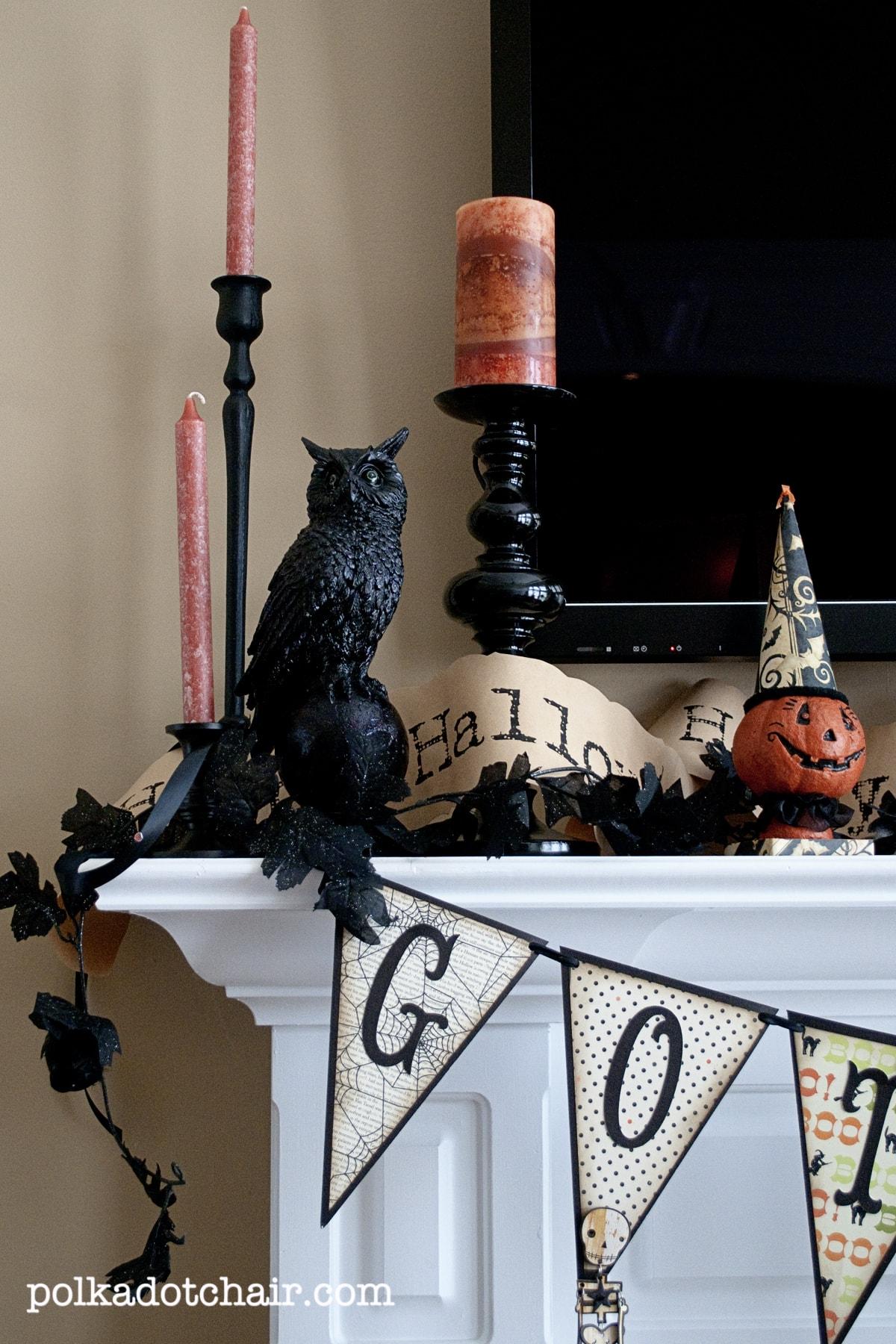 Halloween Mantle Ideas The Polka Dot Chair
