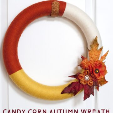 Candy Corn Autumn Yarn Wreath