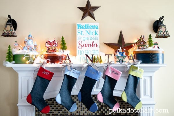 How to make your own Christmas stockings, includes links to free pattern and sewing tutorial