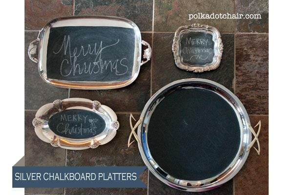Silver Chalkboard Platters