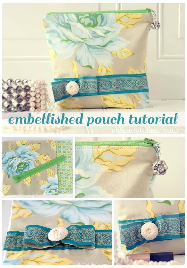Embellished Zippered Pouch Sewing Tutorial