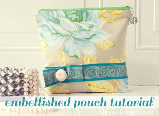 Embellished Zip Pouch Tutorial