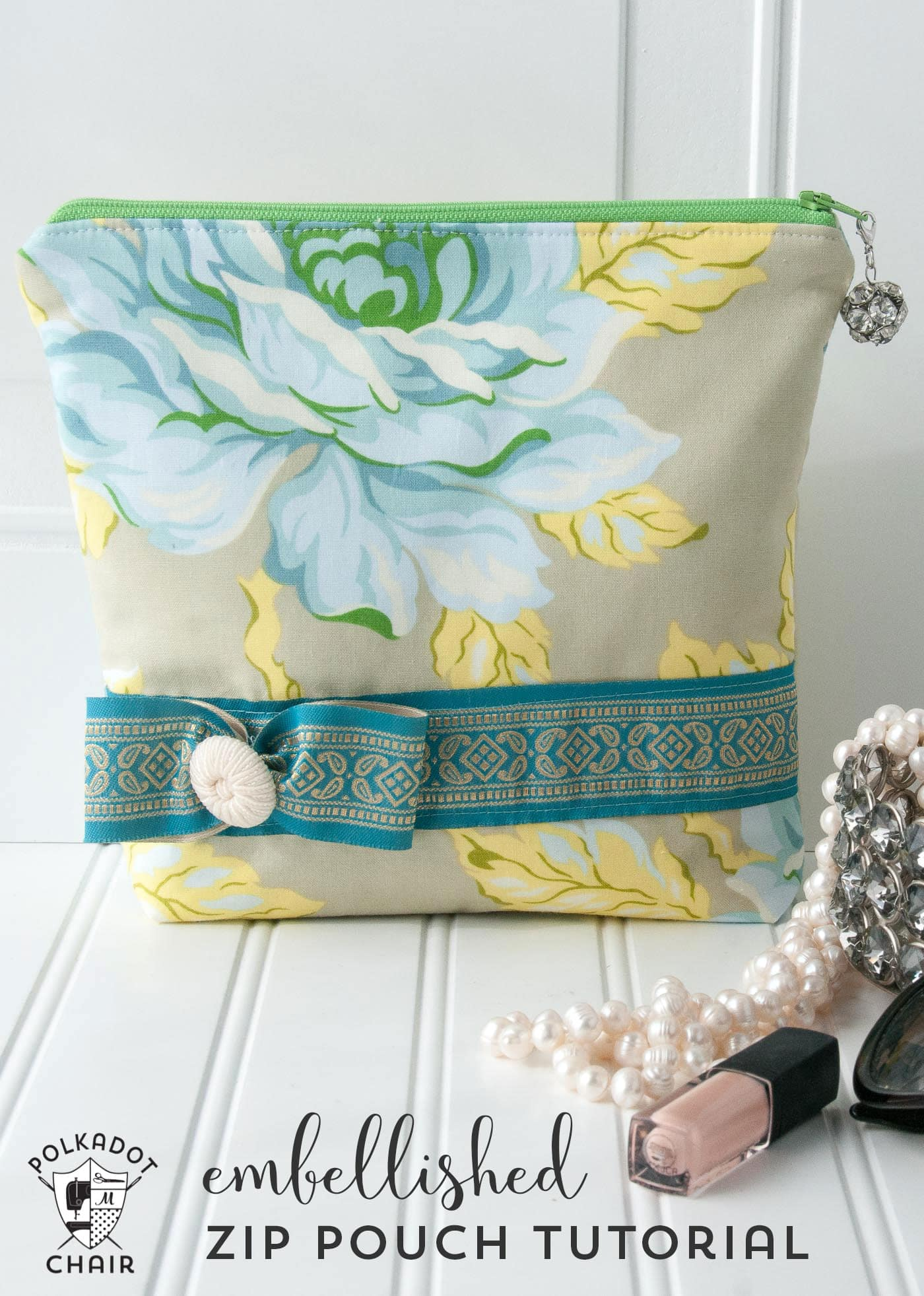 Embellished Zippered Pouch Tutorial