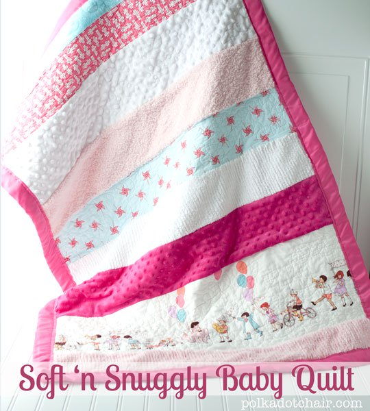 Soft N Snuggly Baby Quilt - strips of different types and textures of fabric sewn together to make it extra tactile for a baby.