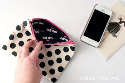 DIY Polka Dot Zip Pouch