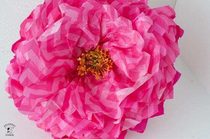 pink tissue paper flower