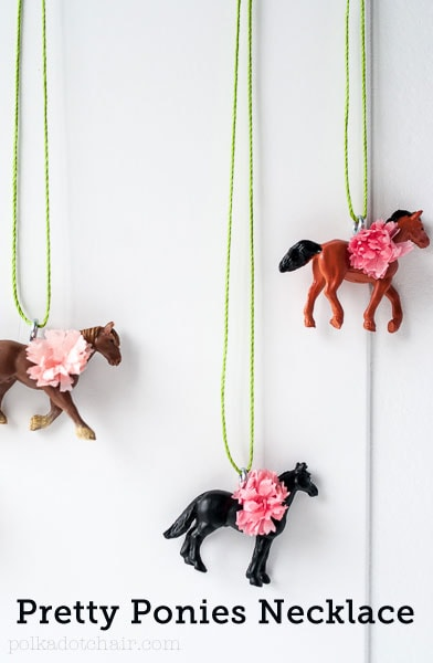 DIY Horse Necklaces- so cute, great for party favors!