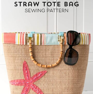 Free Sewing Pattern for a Straw Tote Bag - cute summer beach bag pattern!