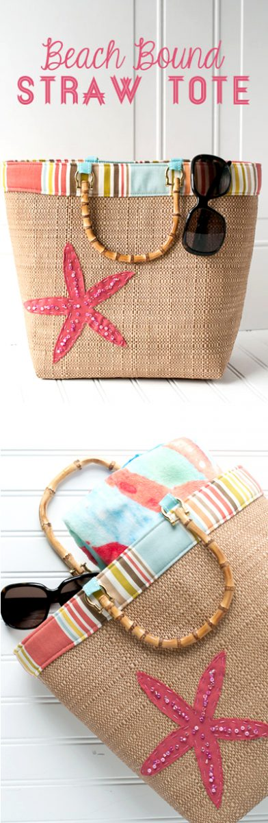 Crochet Straw Beach Bag Tutorial And Pattern : Beach Bound Straw Tote - a Beach Bag Sewing Pattern