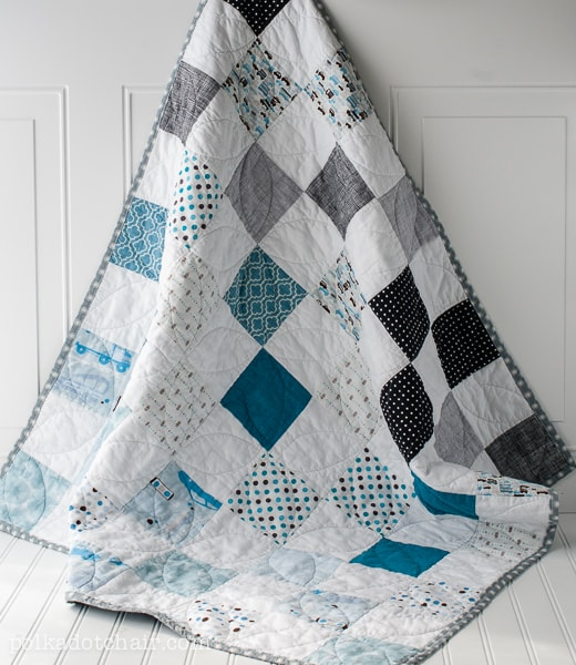 Baby Quilt Patterns For Boy : Color Blocked Baby Quilt patterns, free pattern @ Polka Dot Chair