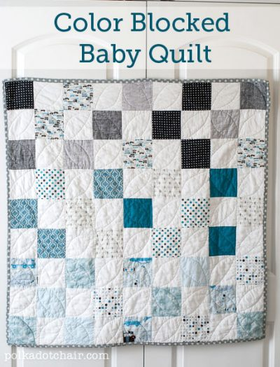 blue and white checked baby quilt