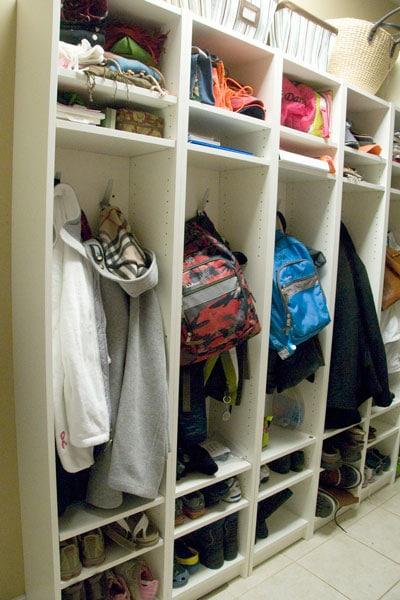 IKEA Hack- Bookshelves to Mudroom Lockers