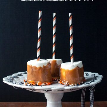 Caramel dipped marshmallows, a cute treat idea for a Halloween party