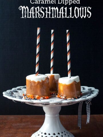 Caramel dipped marshmallows, a cute treat idea for a Halloween party