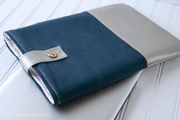 DIY Leather Laptop Sleeve tutorial on polkadotchair.com