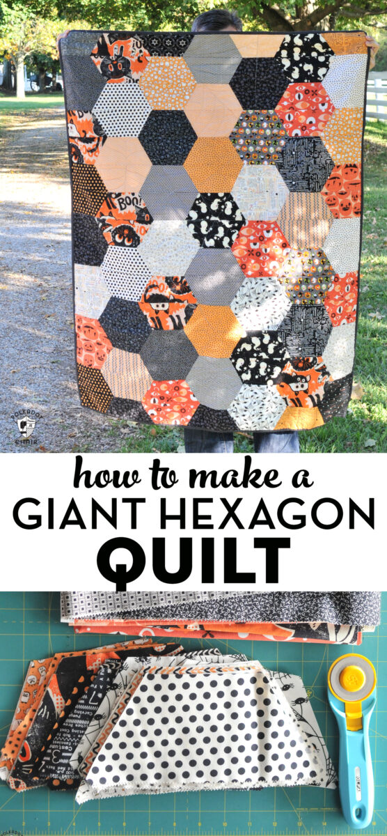 collage image of hexagon quilt, text and cut out quilt pieces