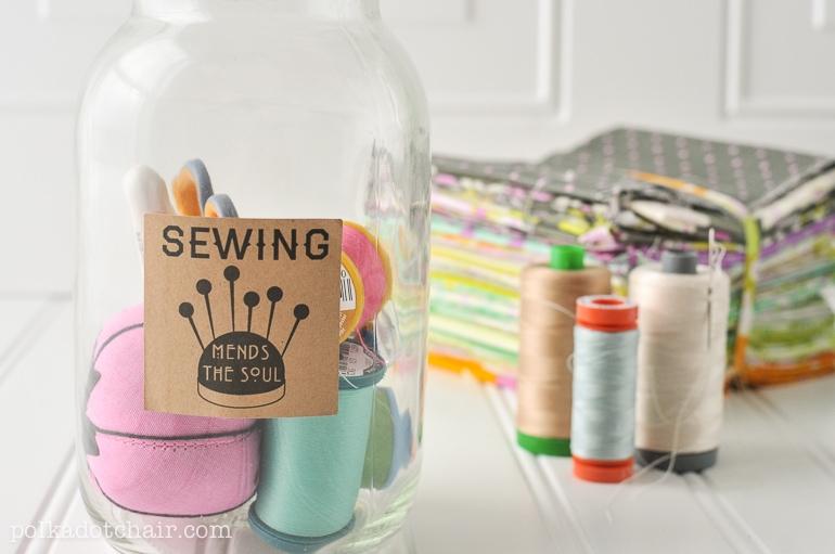 Diy mason jar sewing kit with free printable the polka