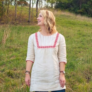 70's Inspired Embroidered Linen Tunic