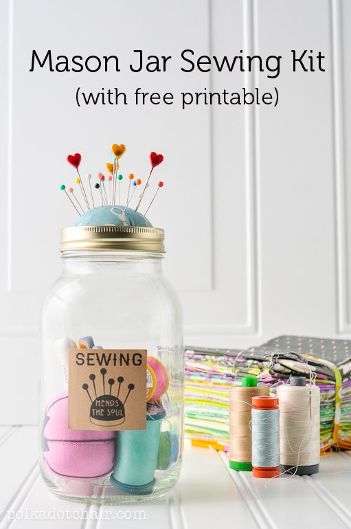 DIY Mason Jar Sewing Kit (with free printable)