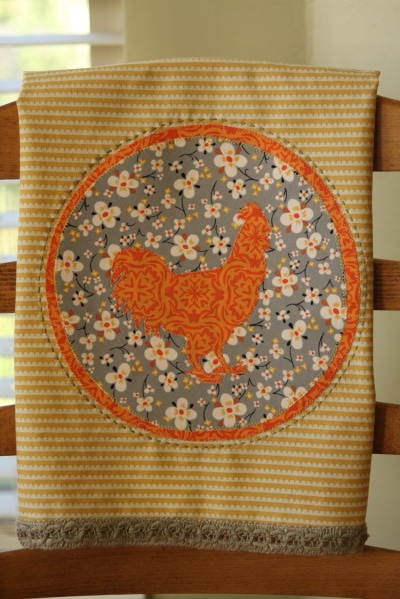 Appliqued Fall Dish Towel