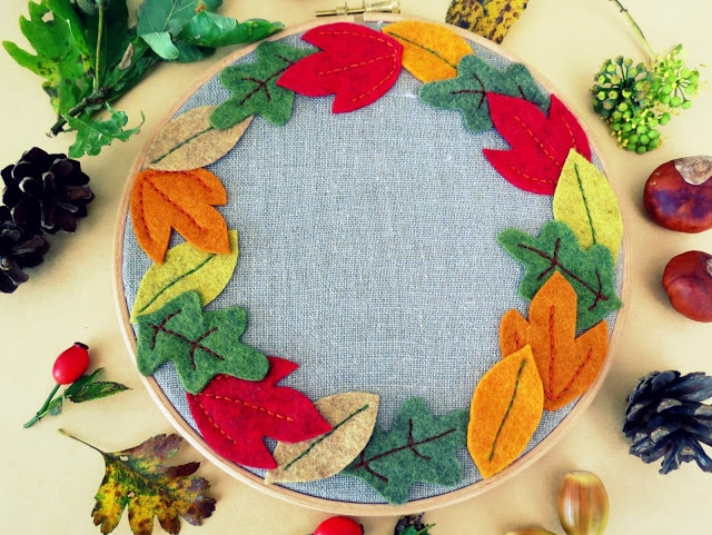 Autumn Leaf Hoop Art