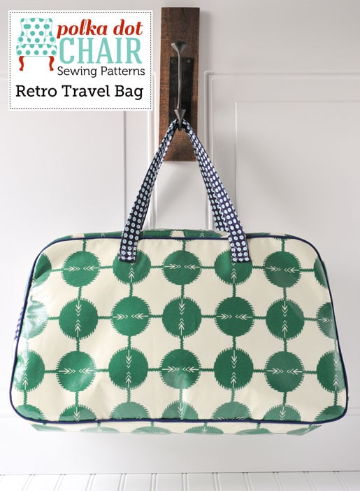 Retro Travel Bag Sewing Pattern green and ivory hanging on white wall
