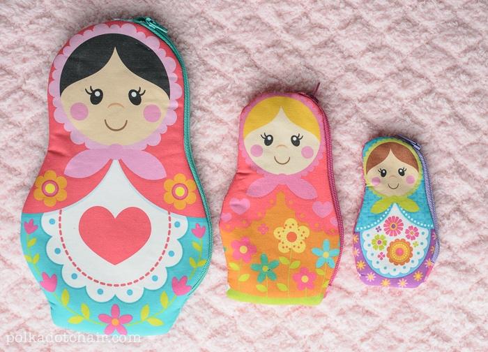 Nesting Dolls Sewing Pattern, Matryoshka Zip Pouches